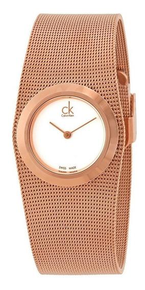 Relógio Calvin Klein Feminino Malha De Aço Dourado K3t23626
