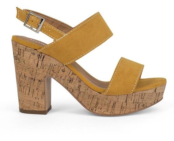 Sandalias Zapatos Dama Abiertos Tacon Corcho Amarillos 9116