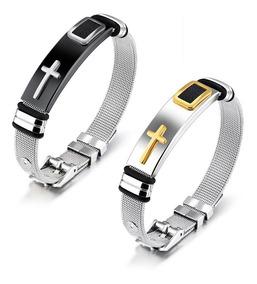 Kit 8 Pulseira Bracelete Masculina Banhada Ouro 18k Cruz