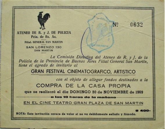 Policía Provincia De Bs As Ateneo Festival Artístico 1969