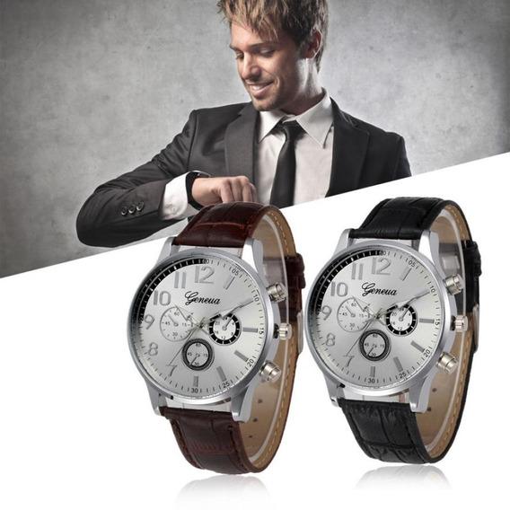 Relógio Geneva Masculino Social Analógico Casual Quartzo Pulseira Fashion Couro Retro Oferta!