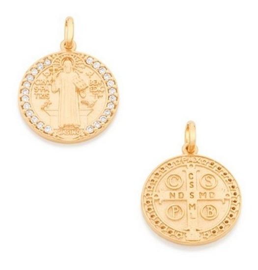 Pingente Rommanel Medalha De São Bento Zircônias 542144 ;