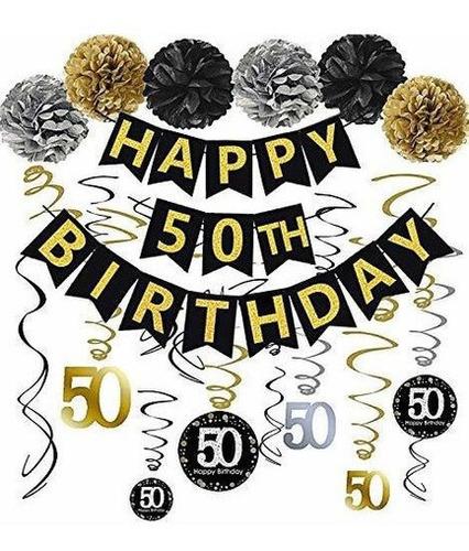 Imagen 1 de 6 de Negro Y Dorado Brillante Feliz 50 Cumpleaños Banner, Poms,.