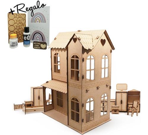 Casa De Muñecas + 30 Muebles Casita M3 - Envio Gratis !