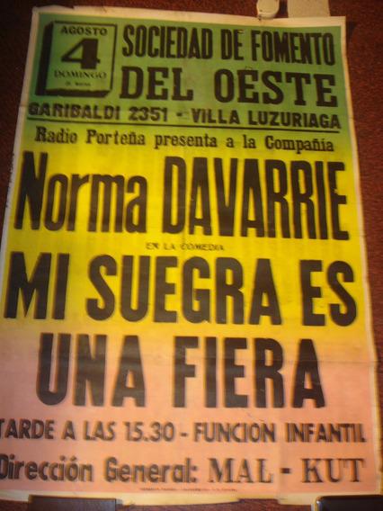Antiguo Afiche Callejero De Papel Soc. De Fomento Del Oeste