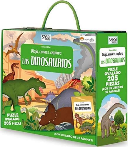Puzzle 205 Piezas Con Libro Conoce Los Dinosaurios Edu Full