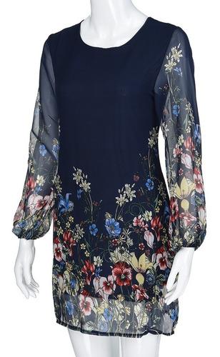 Vestido Elegante Talla S Azul Floral De Gasa Nuevo En Stock