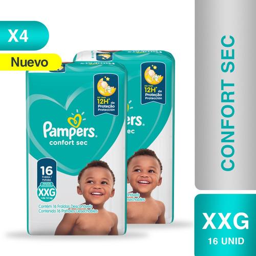 Imagen 1 de 5 de Pañales Pampers® Confort Sec -  Caja De 4 Paquetes Xxg