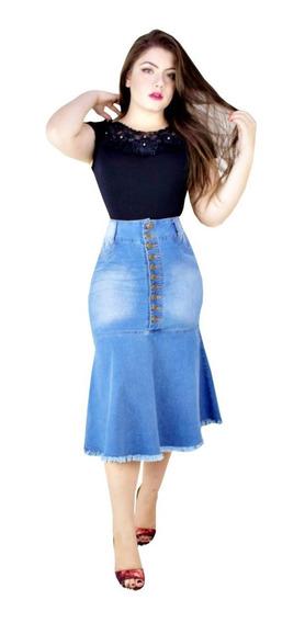 Saia Moda Evangélica Jeans Com Elastano Sino Botão Julia
