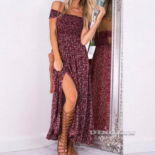 Vestido Floral Fashion Abertura En Pierna Bandeja Verano /