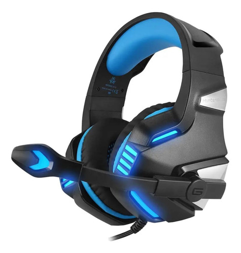 Audífonos gamer Hunterspider V3 negro y azul con luz LED