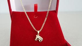 Corrente Folheada Ouro Masculina 60cm C/ Pingente Cavalo