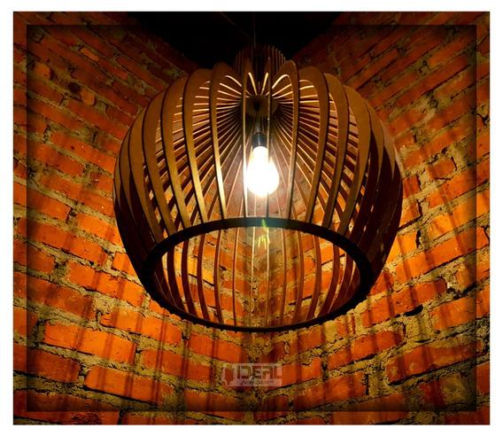 Luminaria Pendente Rustico Madeira Pear 63x53 Cm 036pd