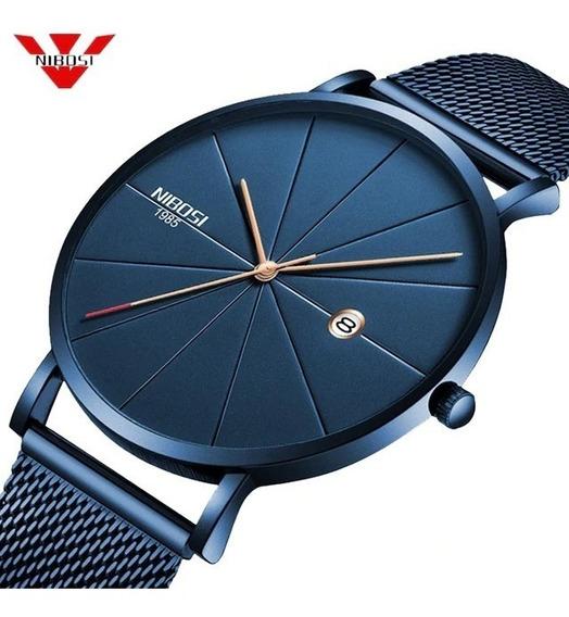 Relógio Nibosi Azul Original + Caixa + Manual À Prova D