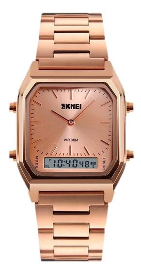 Relógio Feminino Skmei 1220 Aço Inoxidável Original Nf-e