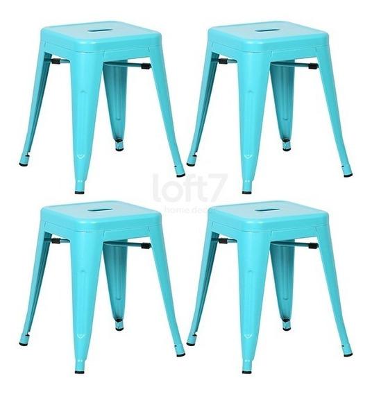 4 Bancos Baixo Tolix Iron 45 Cm Iron Cozinha Azul Tiffany