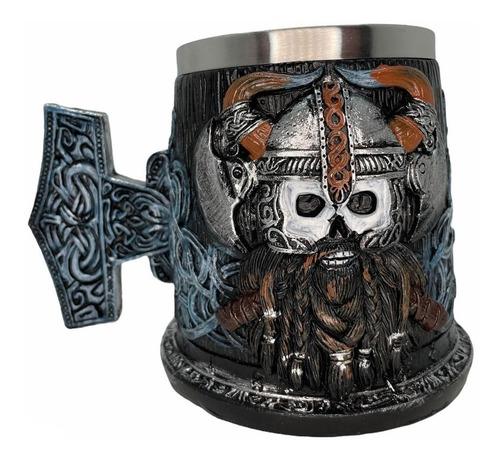 Imagem 1 de 10 de Caneca Viking 3d Inox Medieval Cerveja / Chopp 400ml