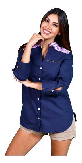 Ropa Mujer Porto Blanco Casual Cuello Mao Azul Marino D-944