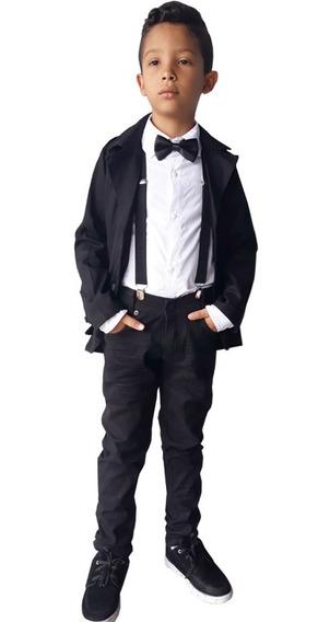 Conjunto Blazer Camisa Social Infantil Festa+kit Suspensório