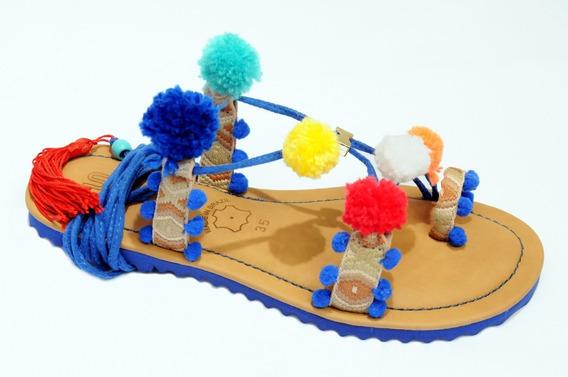 Sandalia Para Carnaval Com Pom Pom Gladiadora Rasteira Promo