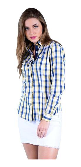 Camisa Porto Blanco Dama Blanca Algodon Cuadros Amarillos
