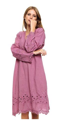 Vestido Mnga Larga Informal Liso Importado Puro Algodón 1767