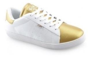 Tênis Qix Feminino Missy Couro Branco Dourado 100% Original