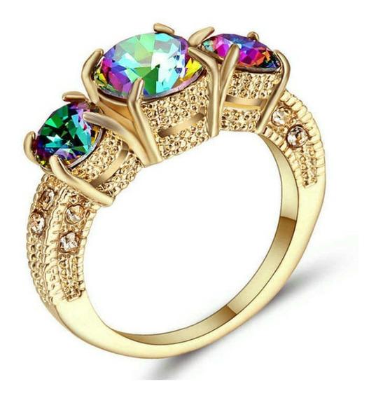 Anel Feminino Pedra Quartzo Místico Arco Iris Dia 493