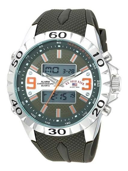 Relógio Masculino Us Polo Assn Modelo Us9628 Verde E Prata