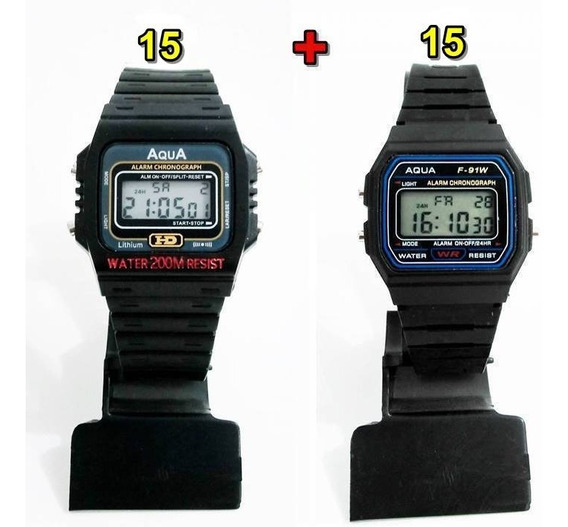 Kit Com 15 Relógios Aqua Aq 37 + 15 Aqua F 91w Atacado!!!