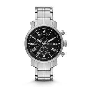 Relógio Aço Com Fundo Preto Cinza Fossil Bq1000