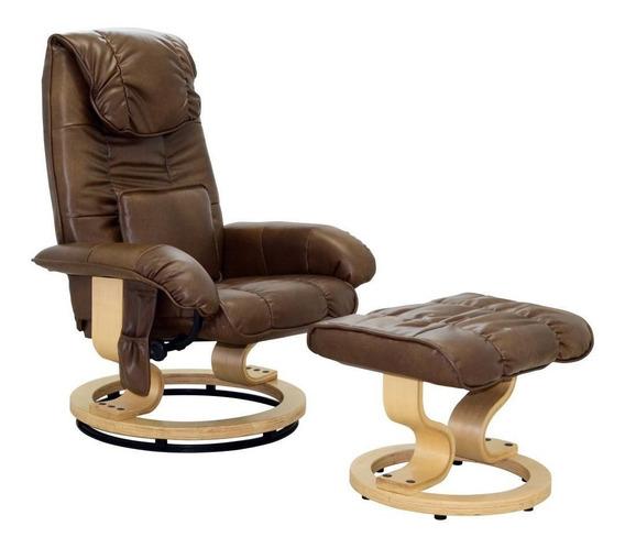 Poltrona Massagem Grenaa Reclinável Marrom Vintage Gran Belo
