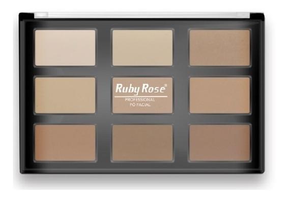 Ruby Rose Pó Facial 9 Cores Hb-7208