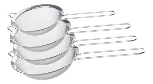 Kit Peneira Coador De Cozinha Aço Inox 4 Peças