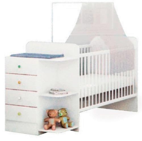 Imagen 1 de 5 de Cuna Dormitorio Infantil 4 Cajones Repisa Blanco 411