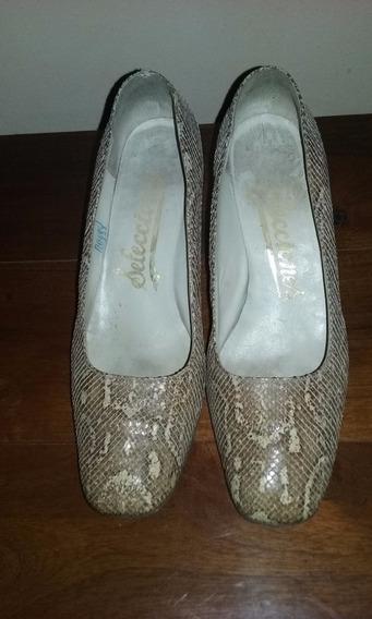 Zapatos En Cuero De Vibora