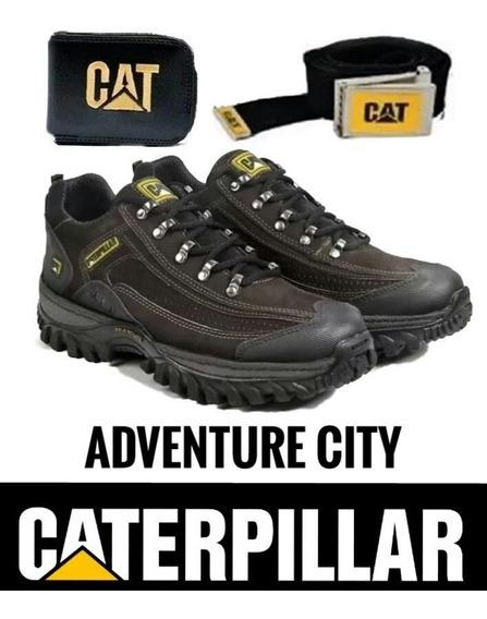 Tenis Caterpillar Adventure Couro Promoçã Kit Carteiracinto