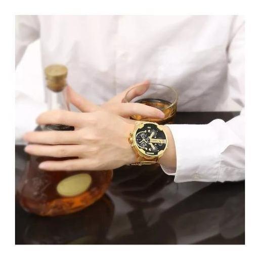 Relógio Dourado Cagarny Luxo M Inoxidável Grande