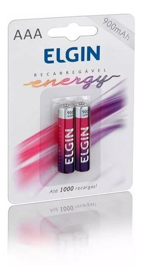 Caixa Pilha Recarregavel Elgin Aaa-900mah Com 10 Blister/2un