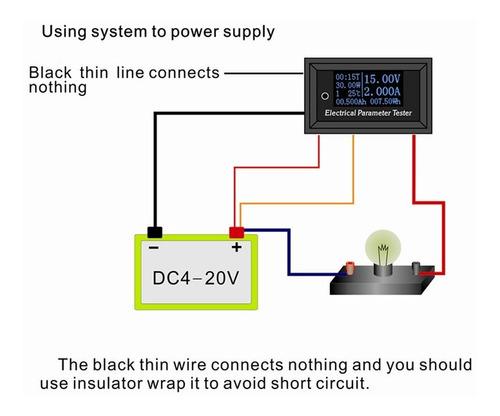 7 en 1 Pantalla digital OLED multifunci/ón Par/ámetro el/éctrico Medidor Voltaje Amperio Corriente Corriente Probador de energ/ía 100V // 10A blanco