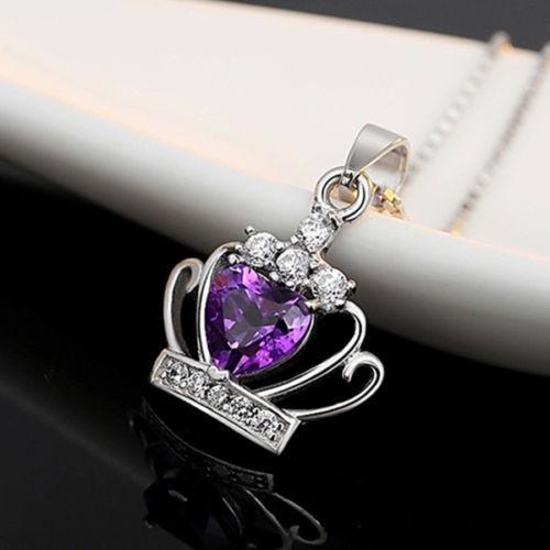 Pendiente Para Mujer Con Cristal Purpura De Plata Esterlina
