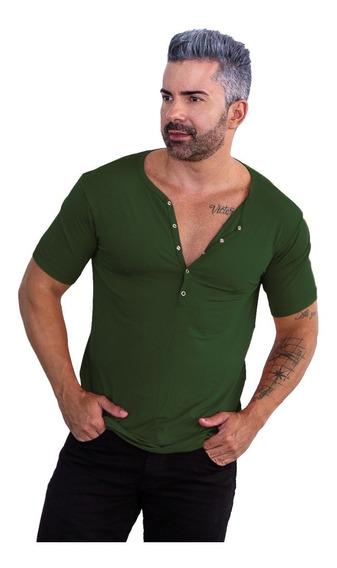 Camisa Henley Viscose Camiseta Slim Botão Manga Curta Zhoe