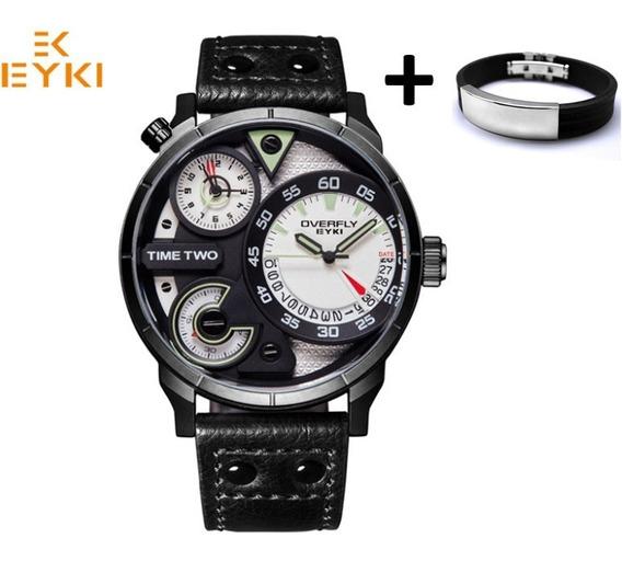 Relógio Esportivo Two Time Original Top Marca Eyki 3bar