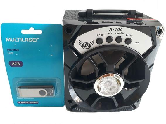 Caixa Som Amplificada Mp3 Usb Cartão Sd Rádio Fm Pen Drive
