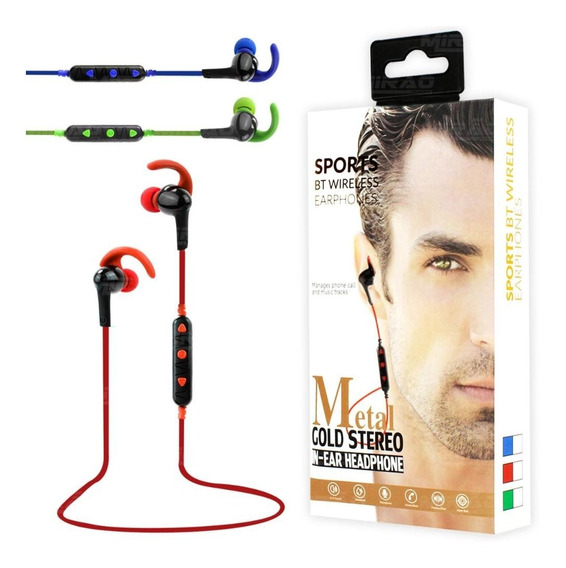 Fone Bluetooth Intra-auricular Metal Gold Stereo Sports In-e