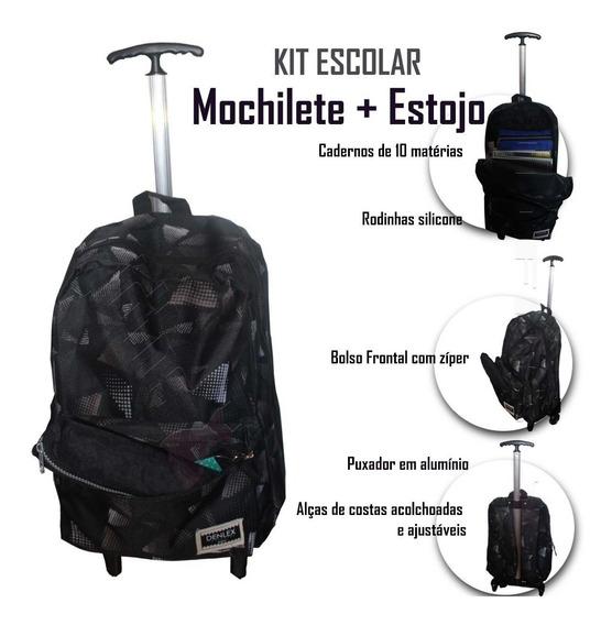 Mochila Trolley Rodas Puxador Alumínio + Estojo Escolar Dl