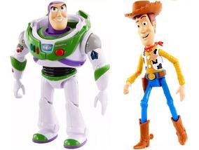 Boneco Woody + Buzz Lightyear True Talkers Toy Story 4 C/som