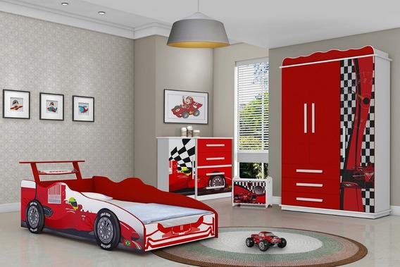 Jogo De Quarto Infantil Carro Vermelho Ferrari