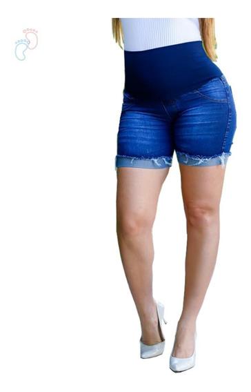 Short Gestante Gravida Jeans Cós Não Aperta Barriga Verão