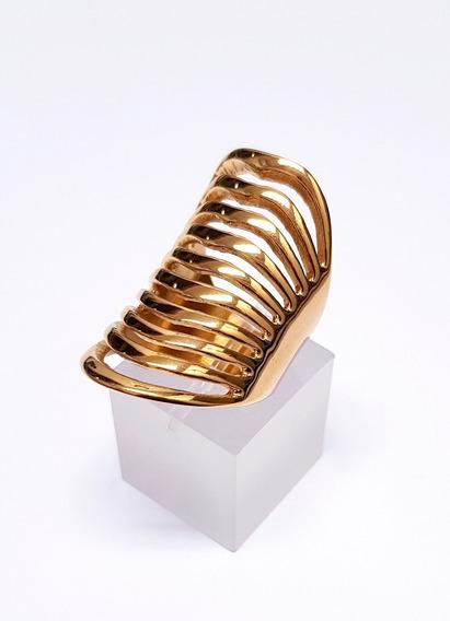 Maxi Anel Em Aço Inoxidável Dourado Várias Linhas Onduladas